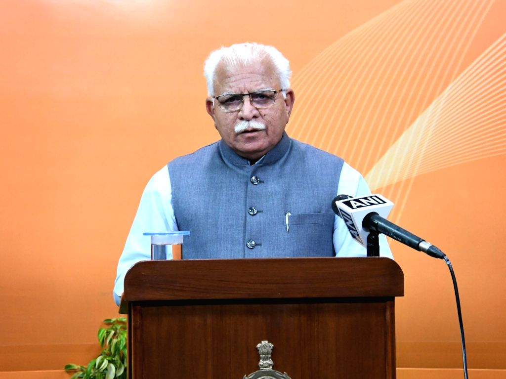 Haryana Chief Minister Manohar Lal Khattar addresses the people of the state through the live telecast of 'Haryana Aaj' programme at Chandigarh on Apr 22, 2020. - Manohar Lal Khattar