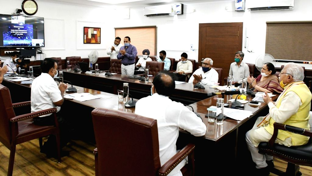 Haryana Chief Minister Manohar Lal Khattar inaugurates 98 Park- cum-Vayamshalas across the State through video conferencing at Chandigarh on July 5, 2020. - Manohar Lal Khattar
