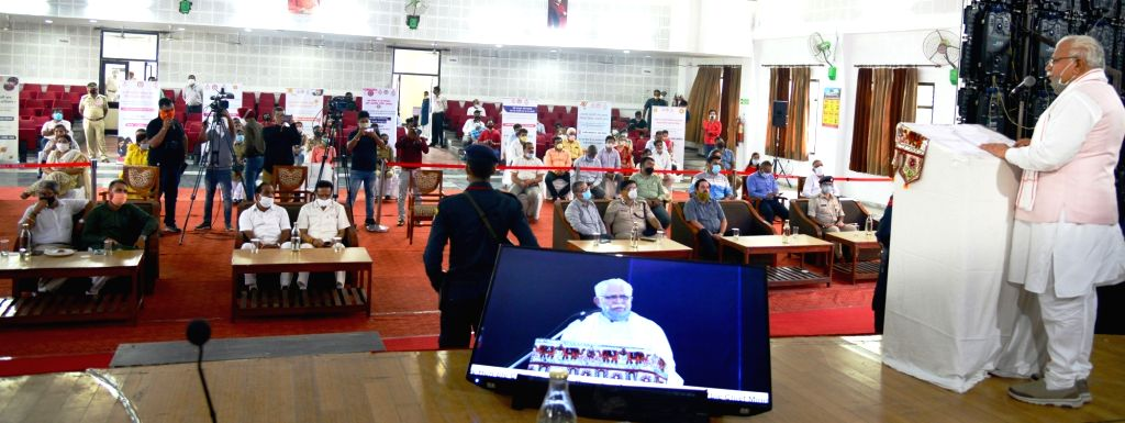 Haryana Chief Minister Manohar Lal Khattar addresses a gathering at Government PG College Sector 1, Panchkula before announcing the opening of 11 new colleges under the 'Beti Bachao-Beti ... - Manohar Lal Khattar