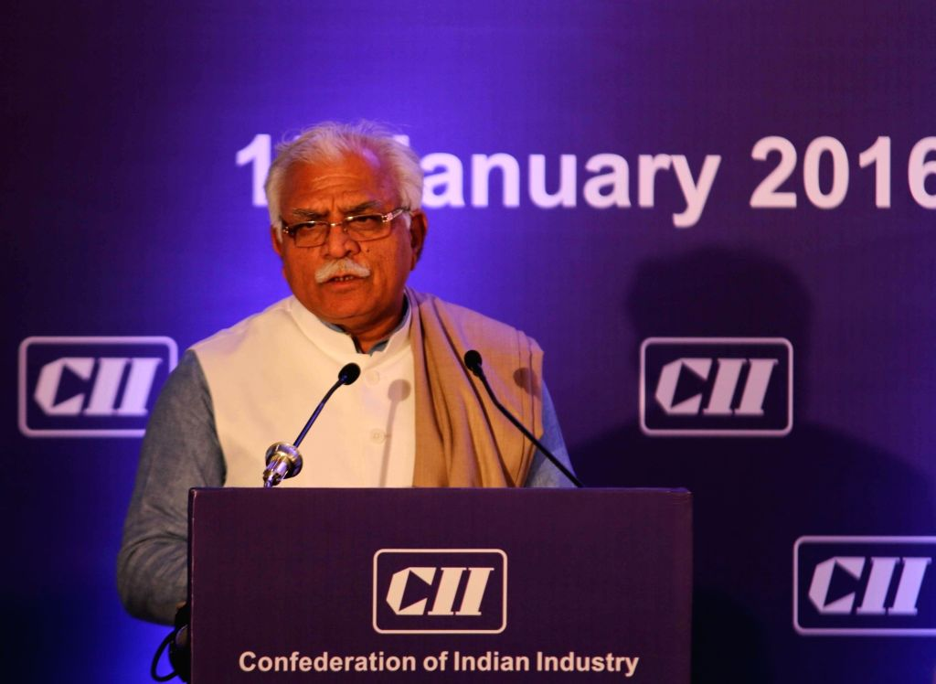 Haryana Chief Minister Manohar Lal Khattar addresses during a CII programme in New Delhi on Jan 15, 2016. - Manohar Lal Khattar