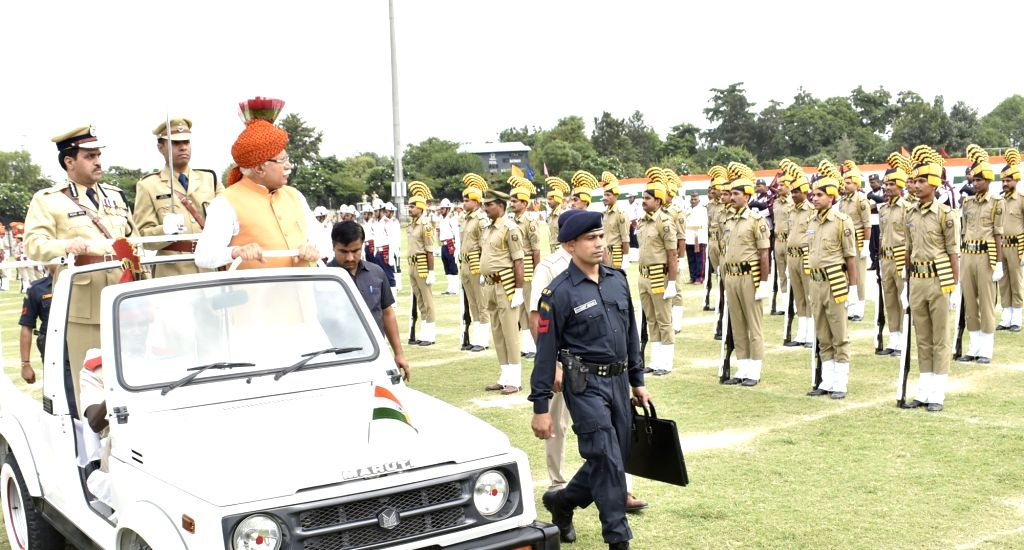 Haryana Chief Minister Manohar Lal Khattar inspects guard of honor during Independence Day parade in Gurugram on Aug 15, 2017. - Manohar Lal Khattar