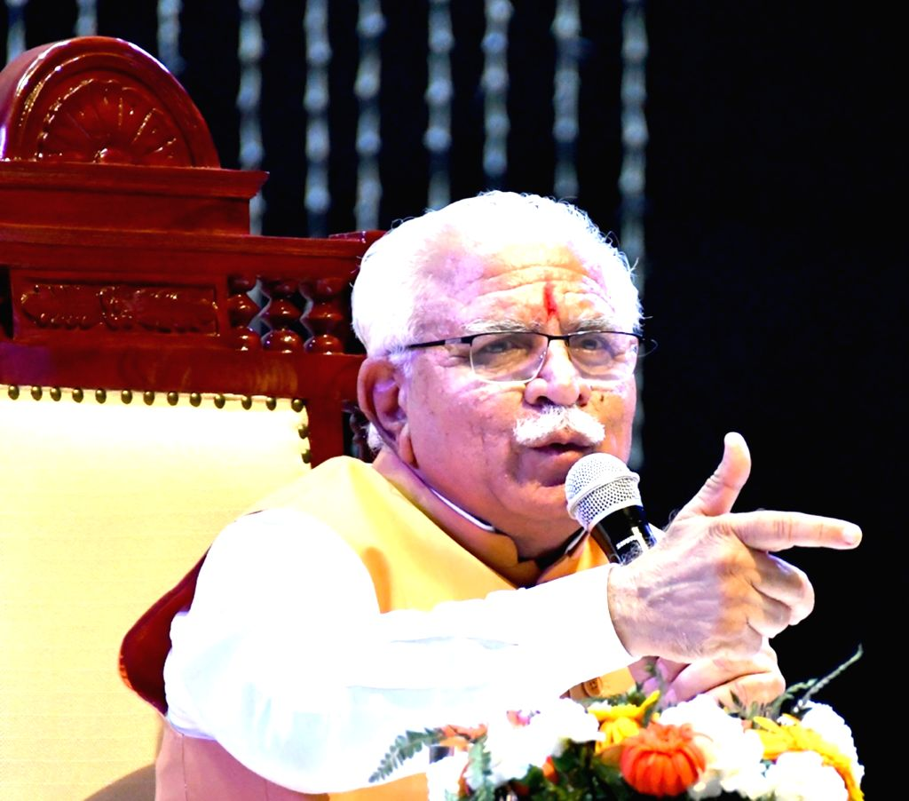 Haryana Chief Minister Manohar Lal Khattar addresses during a programme in Rohtak on June 3, 2018. - Manohar Lal Khattar