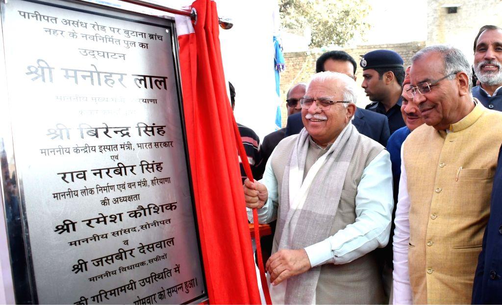 Haryana Chief Minister Manohar Lal Khattar inaugurates a bridge in Safidon of Haryana's Jind on Feb 11, 2019. - Manohar Lal Khattar