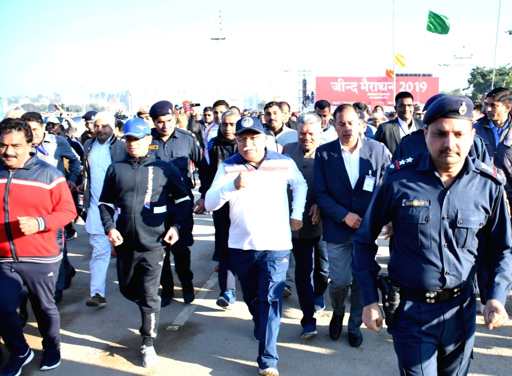 """Haryana Chief Minister Manohar Lal Khattar participates in """"Run for Unity - Unity Against Terror"""" in Jind on Feb 23, 2019. - Manohar Lal Khattar"""