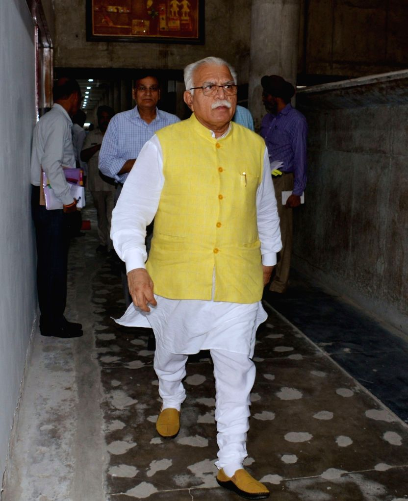 Haryana Chief Minister Manohar Lal Khattar arrives to attend the Monsoon Session of the state assembly, in Chandigarh on Aug 2, 2019. - Manohar Lal Khattar