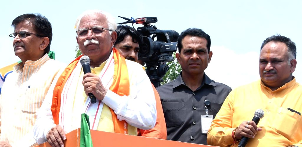 Haryana Chief Minister Manohar Lal Khattar addresses during the 6th day of 'Jan Ashirwad Yatra' at Kharkhoda in Sonipat district, on Aug 26, 21019. - Manohar Lal Khattar