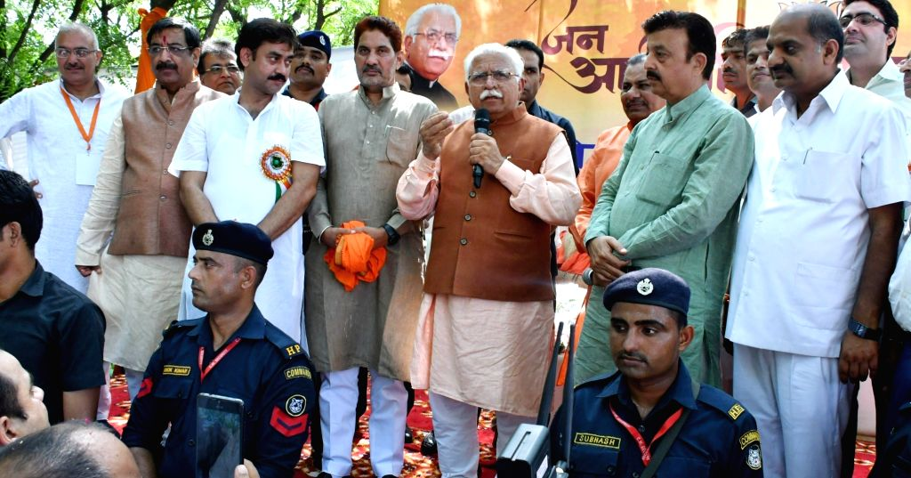 Haryana Chief Minister Manohar Lal Khattar addresses a gathering during the 8th day of 'Jan Ashirwad Yatra' at Badshahpur in Gurugram on Aug 28, 2019. - Manohar Lal Khattar