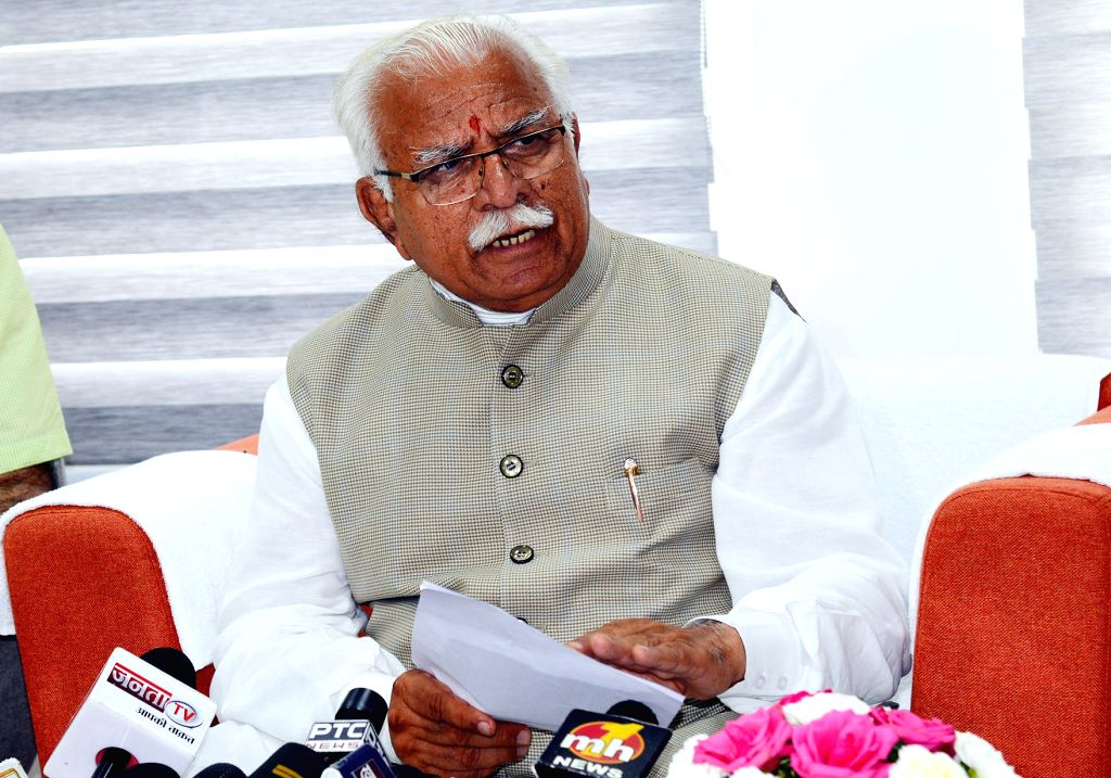 Haryana Chief Minister Manohar Lal Khattar addresses a press conference after inaugurating the new building of Town and Country Planning Department, Haryana in Chandigarh on Sep 3, 2019. - Manohar Lal Khattar