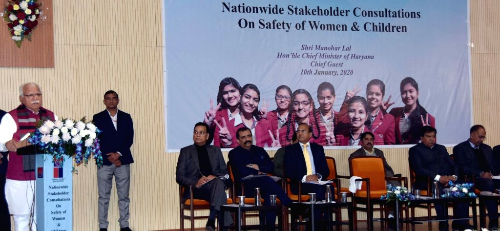 Haryana Chief Minister Manohar Lal Khattar addresses at 'Nationwide Stakeholders Consultations on Safety of Women and Children', organised at Panchkula on Jan 10, 2020. - Manohar Lal Khattar
