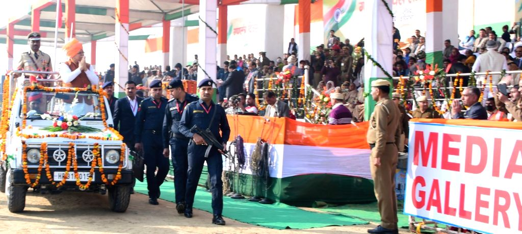 Haryana Chief Minister Manohar Lal Khattar acknowledges the greetings of the people during the 71st Republic Day celebrations at Jind on Jan 26, 2020. - Manohar Lal Khattar