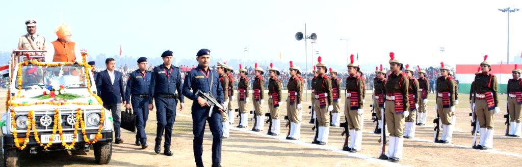 Haryana Chief Minister Manohar Lal Khattar reviews the 71st Republic Day parade at Jind on Jan 26, 2020. - Manohar Lal Khattar