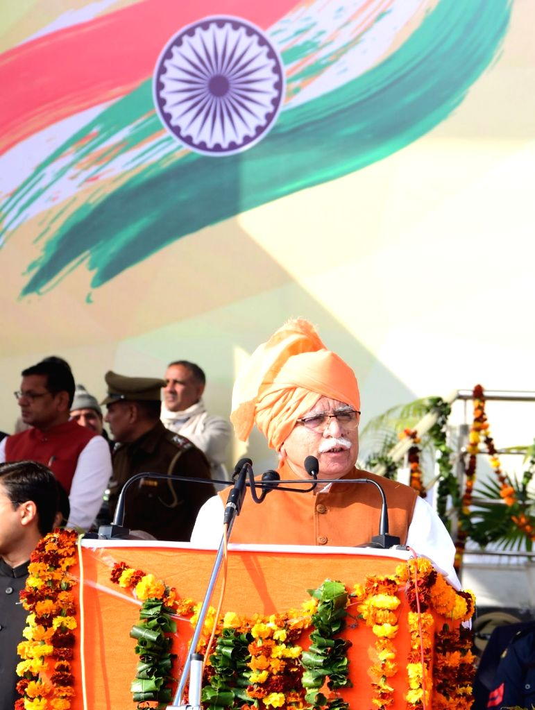 Haryana Chief Minister Manohar Lal Khattar addresses during the 71st Republic Day celebrations at Jind on Jan 26, 2020. - Manohar Lal Khattar