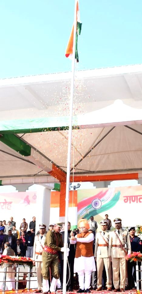Haryana Chief Minister Manohar Lal Khattar unfurls the national flag on the occasion of 71st Republic Day celebrations at Jind on Jan 26, 2020. - Manohar Lal Khattar