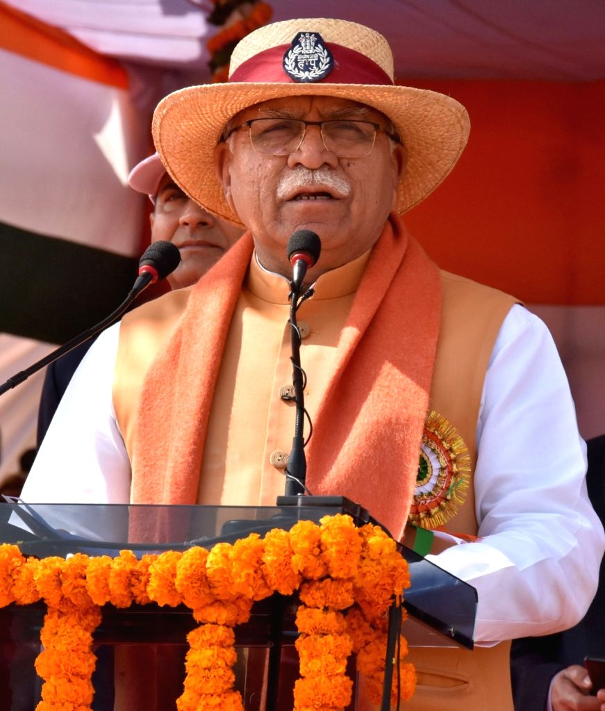 Haryana Chief Minister Manohar Lal Khattar addresses during the opening ceremony of the 38th All India Police Equestrian Championship and Mounted Police Duty Meet 2020, in Gurugram on Feb ... - Manohar Lal Khattar