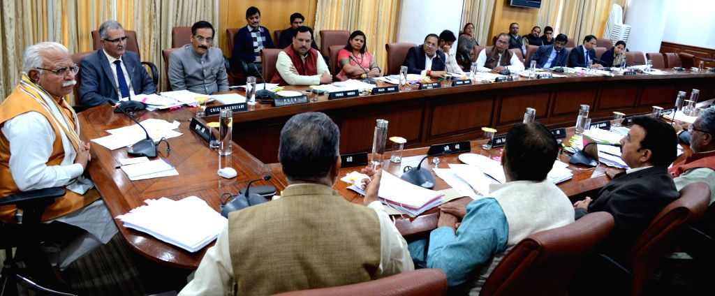 Haryana Chief Minister Manohar Lal Khattar chairs the meeting of cabinet in Chandigarh, on March 5, 2019. - Manohar Lal Khattar