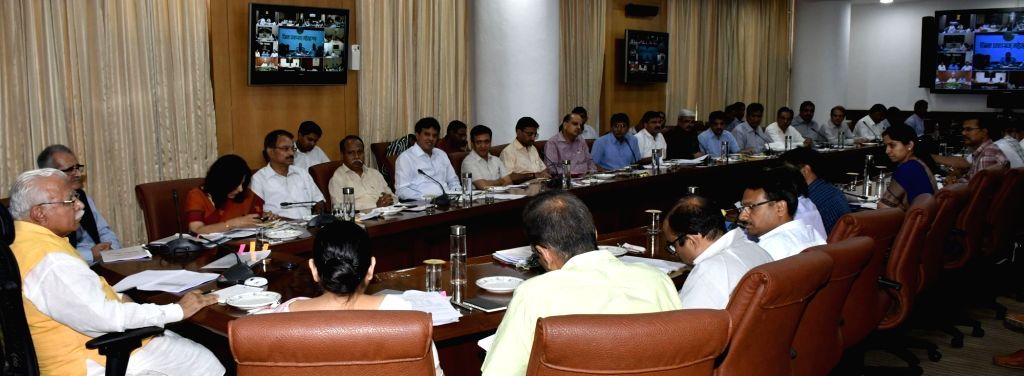 Haryana Chief Minister Manohar Lal Khattar chairs a meeting to review heatwave, drought and flood preparedness in the state with all the Deputy Commissioners through video conferencing, ... - Manohar Lal Khattar