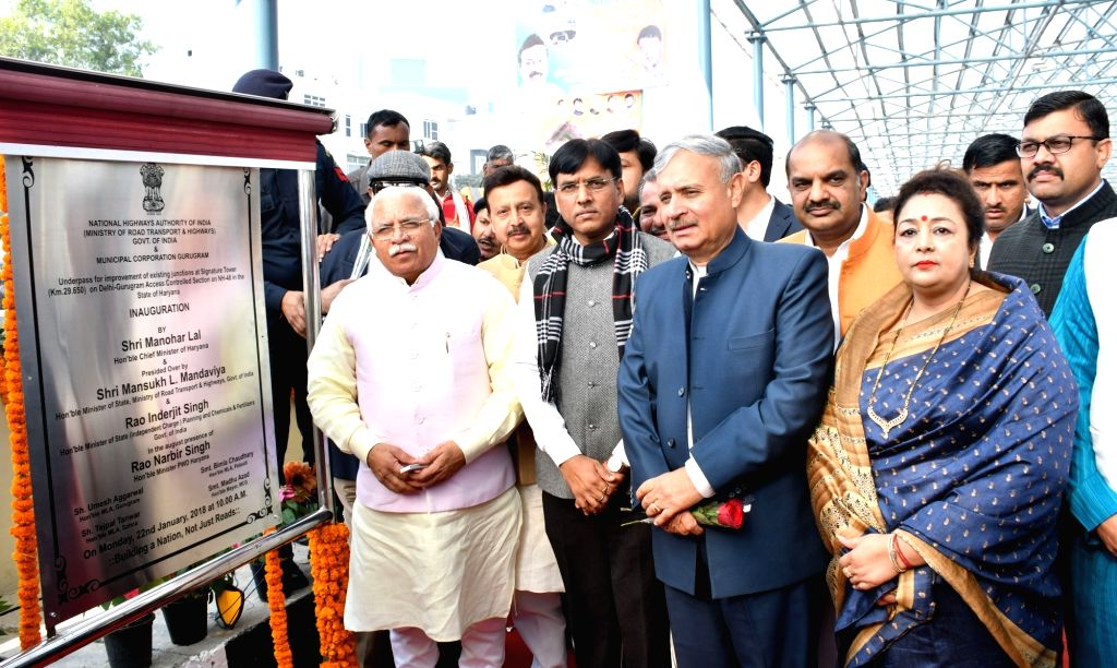 Haryana Chief Minister Manohar Lal Khattar during the inauguration of Underpass at Signature Tower Chowk on Delhi-Gurugram Controlled section on NH 48 on Jan 22, 2018. - Manohar Lal Khattar