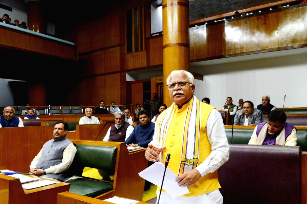 Haryana Chief Minister Manohar Lal Khattar during the ongoing Budget Session of Haryana Legislative Assembly in Chandigarh on Feb 22, 2019. - Manohar Lal Khattar