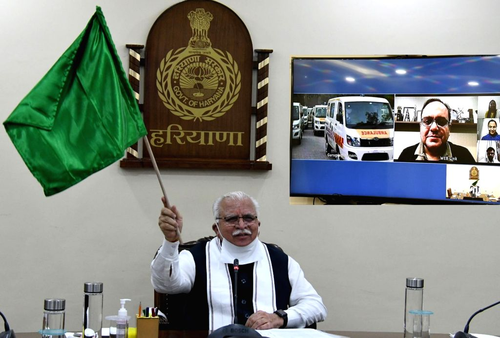 Haryana Chief Minister Manohar Lal Khattar flags off 20 new ambulances to improve the health services in Gurugram district, via video conferencing on Oct 27, 2020. - Manohar Lal Khattar