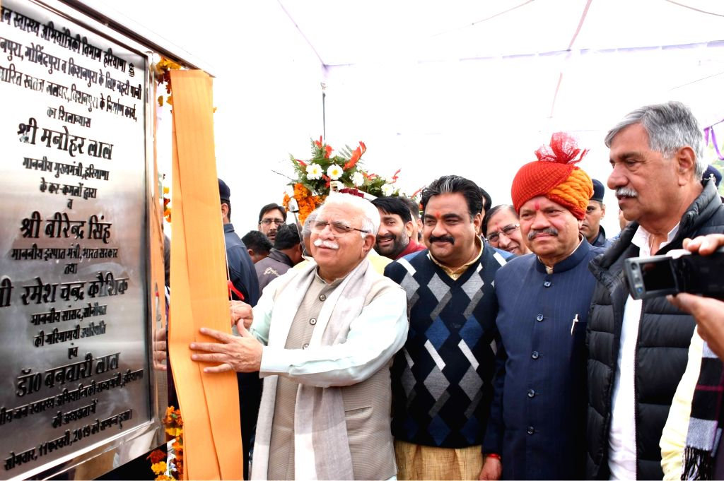 Haryana Chief Minister Manohar Lal Khattar lays the foundation stone of a development project - independent water work- in Gobindpura of Haryana's Jind on Feb 11, 2019. - Manohar Lal Khattar