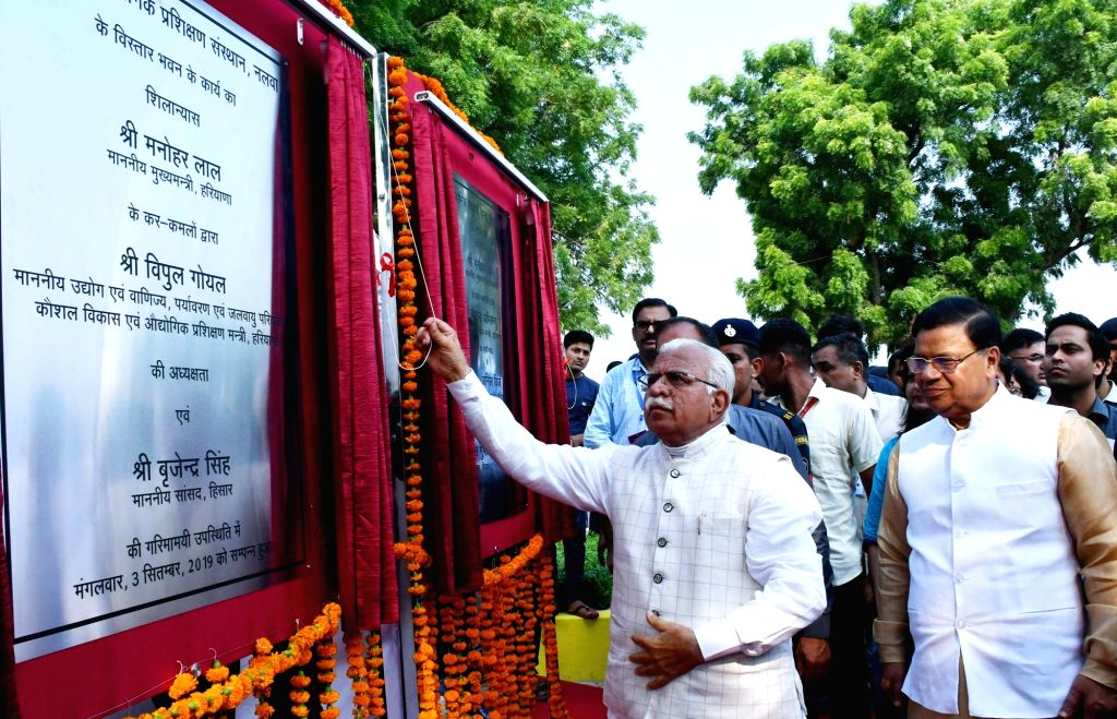 Haryana Chief Minister Manohar Lal Khattar lays foundation stone for the extension wing of ITI, Nalwa in Hisar on Sep 3, 2019. - Manohar Lal Khattar