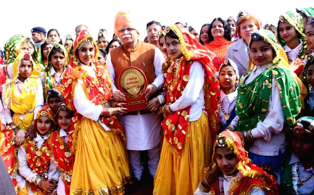 Haryana Chief Minister Manohar Lal Khattar pays tributes to martyrs at War Memorial during the 71st Republic Day celebrations at Jind on Jan 26, 2020. - Manohar Lal Khattar