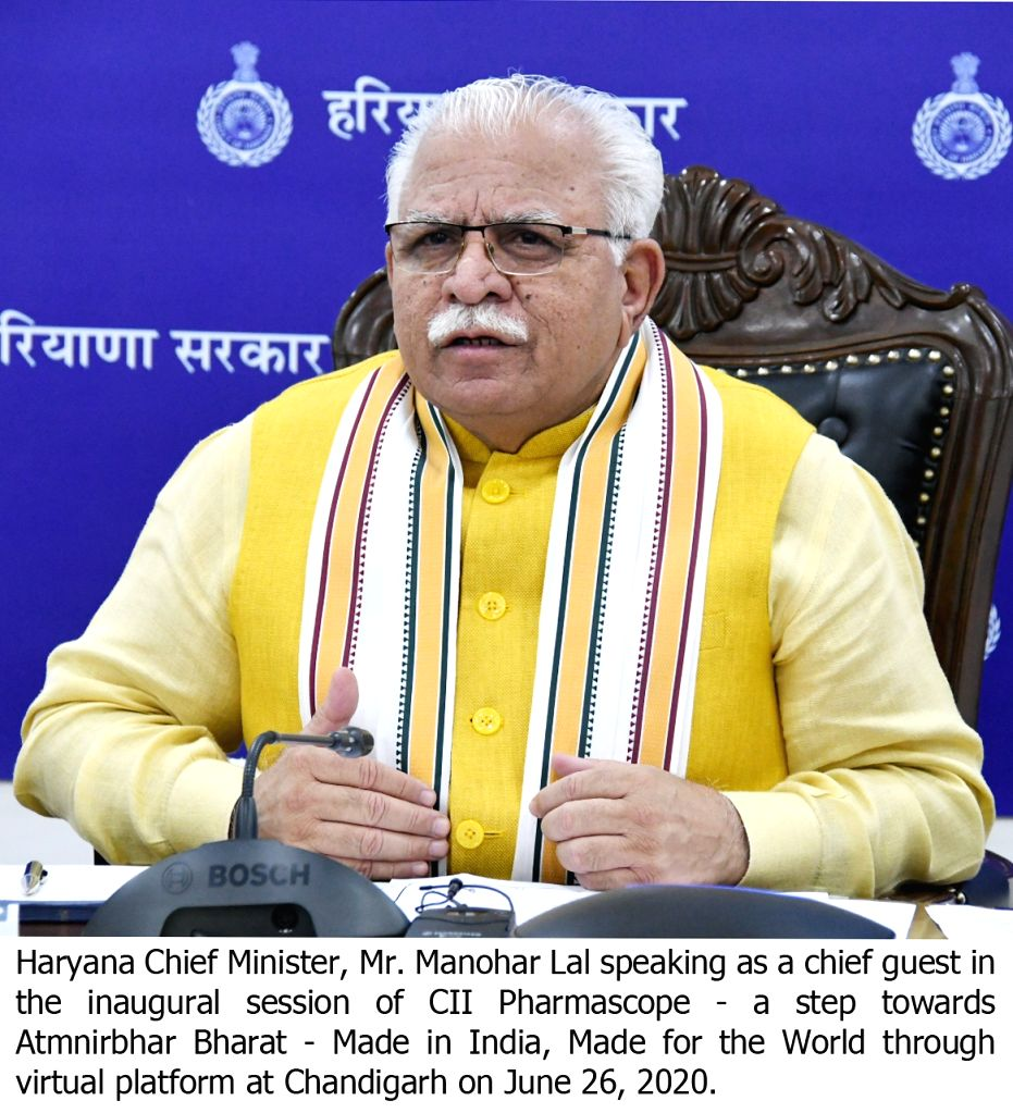 Haryana Chief Minister Manohar Lal speaks as a chief guest in the inaugural session of  CII Pharmascope - a step towards Atmnirbhar Bharat - Made in India, Made for the World through ... - Manohar Lal
