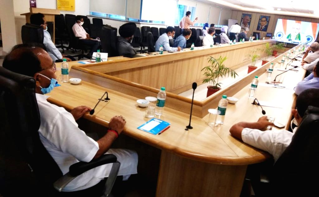 Haryana Cooperation Minister Dr. Banwari Lal listening to the virtual address delivered by Prime Minister, Narendra Modi after inagurating Agriculture Infrastructure Fund (AIF) Program, ... - Narendra Modi