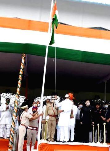 Haryana Deputy Chief Minister Dushyant Chautala hoists the tricolor on the 74th Independence Day, in Gurugram on Aug 15, 2020. - Dushyant Chautala