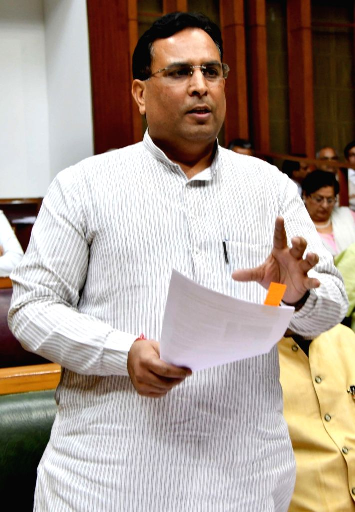 Haryana Excise and Taxation Minister, Capt. Abhimanyu speaks on Goods and Services Tax during the one day special session of state assembly in Chandigarh on May 4, 2017.