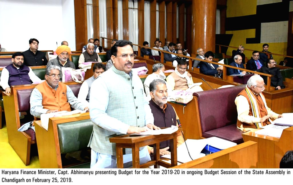 Haryana Finance Minister Abhimanyu presents the state budget 2019 at Haryana Legislative Assembly, in Chandigarh, on Feb 25, 2019. - Abhimanyu