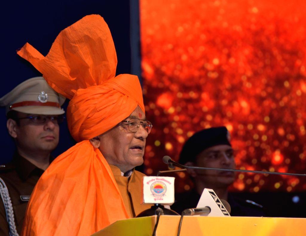 Haryana Governor Satyadeo Narain Arya addresses during 4th International Seminar on Universal Welfare and the Eternal Philosophy of Bhagavad Gita organised as part of International Gita ...