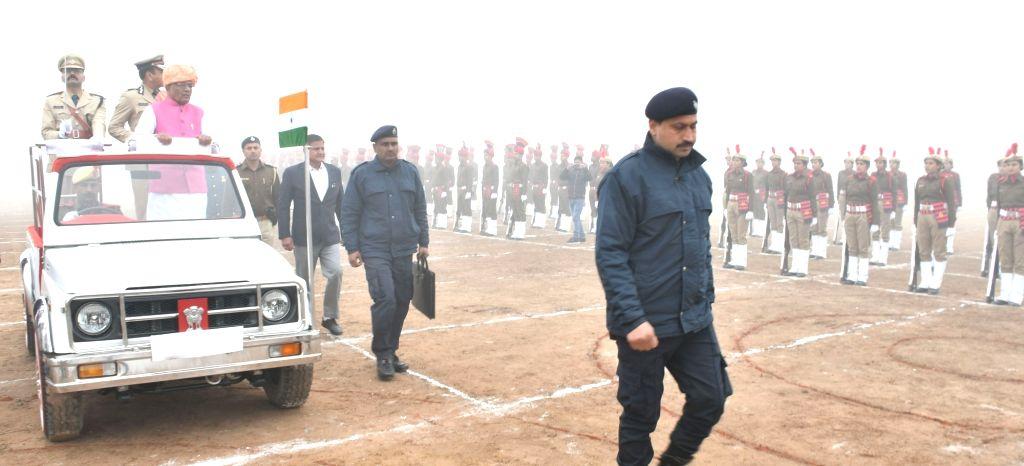 Haryana Governor Satyadeo Narain Arya inspects the 71st Republic Day parade, in Ambala on Jan 26, 2020.