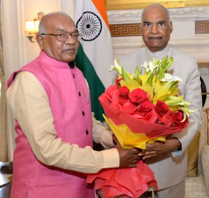 Haryana Governor Satyadeo Narain Arya meets President Ram Nath Kovind at Rashtrapati Bhavan in New Delhi on Sep 20, 2019. - Nath Kovind