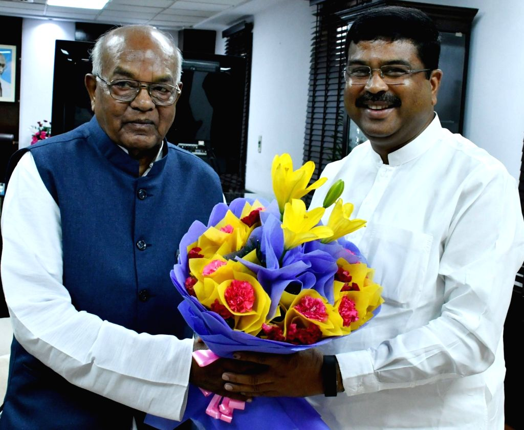 Haryana Governor Satyadeo Narain Arya meets Union Petroleum and Natural Gas and Steel Minister Dharmendra Pradhan, in New Delhi on June 14, 2019. - Dharmendra Pradhan
