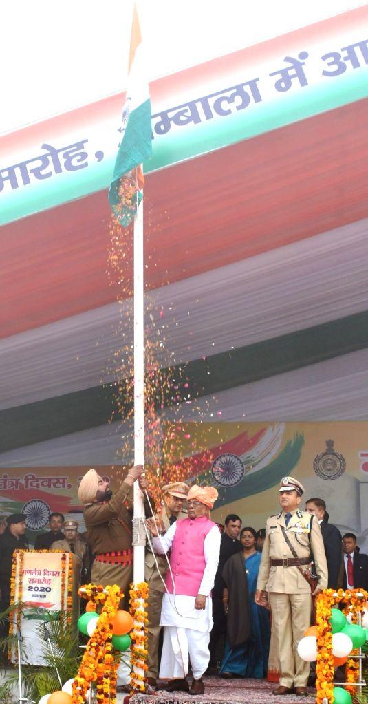 Haryana Governor Satyadeo Narain Arya unfurls the tricolor during the 71st Republic Day celebrations, in Ambala on Jan 26, 2020.