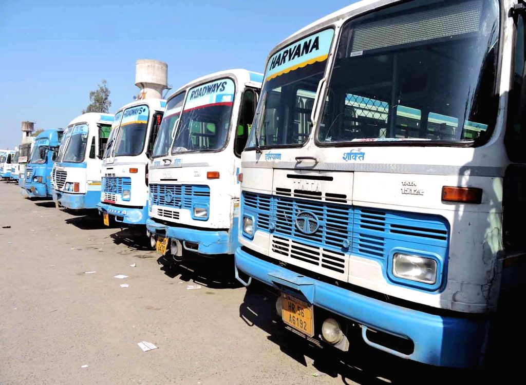 Haryana roadways buses remain parked at the bus depot as  roadways staff go on a strike to protest against the grant of route permits to private bus operators on March 17, 2015.