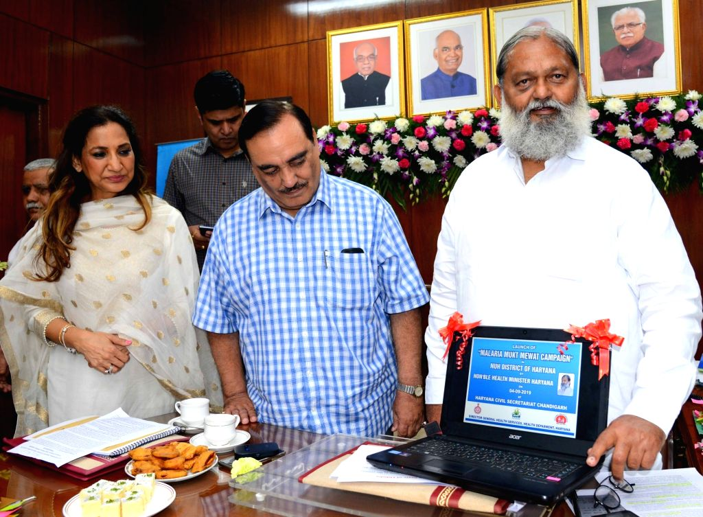 Haryana Health Minister Anil Vij launches the 'Malaria Mukt Mewat' Campaign in Chandigarh on Sep 4, 2019. - Anil Vij