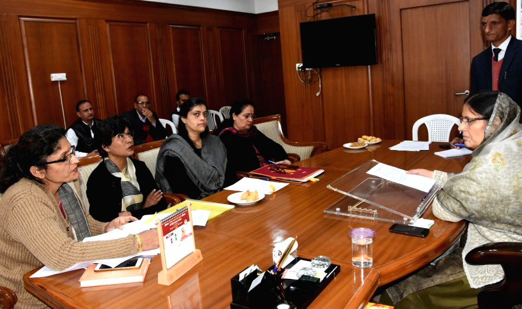 Haryana Minister of State for Women and Child Development Kamlesh Dhanda presides over a meeting of the department in Chandigarh on Dec 4, 2019.