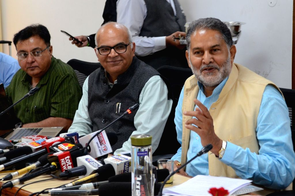 Haryana Technical Education Minister Ram Bilas Sharma addresses a press conference, in Chandigarh on July 17, 2019. - Ram Bilas Sharma
