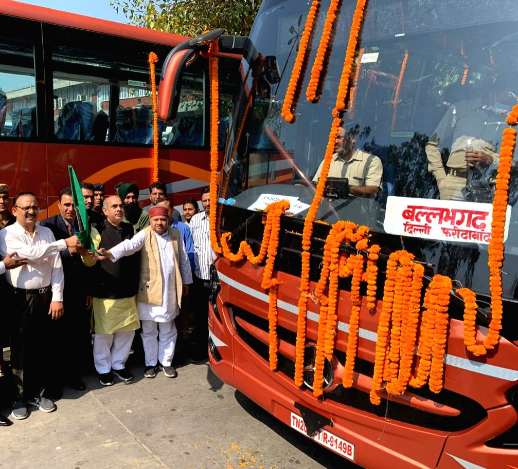 Haryana Transport Minister, Mool Chand Sharma flags off new Mercedes Benz bus of Haryana Roadways, in Chandigarh on March 19, 2020. - Mool Chand Sharma