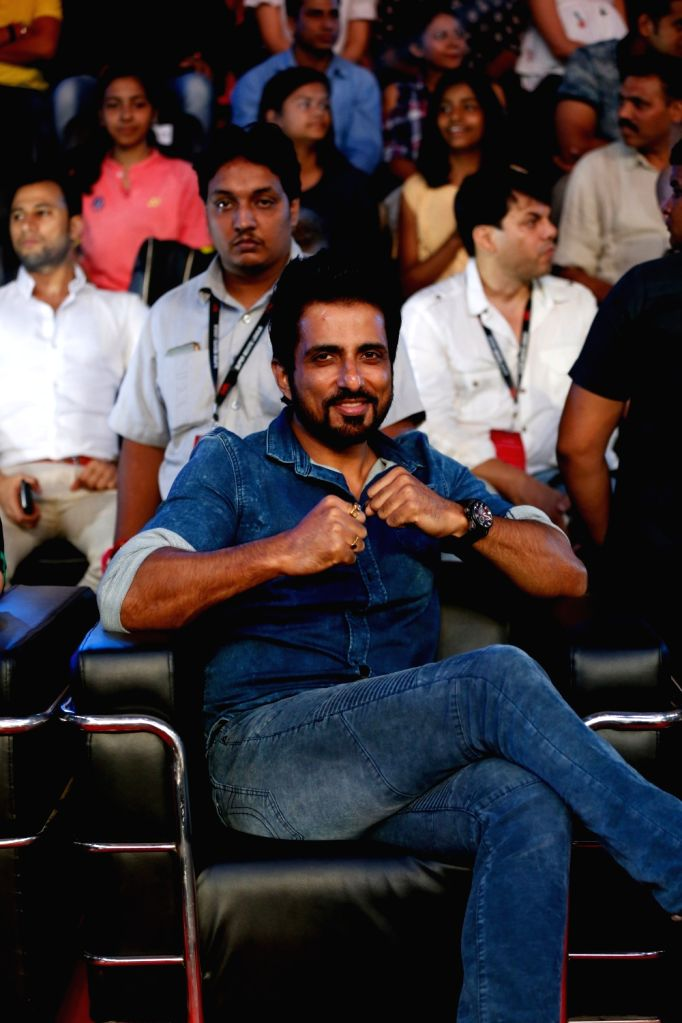 Haryana Warriors co-owner and actor Sonu Sood during the Grand Finale of Super Boxing League (SBL) at DDA Squash and Badminton Stadium in New Delhi on Aug 12, 2017. - Sonu Sood