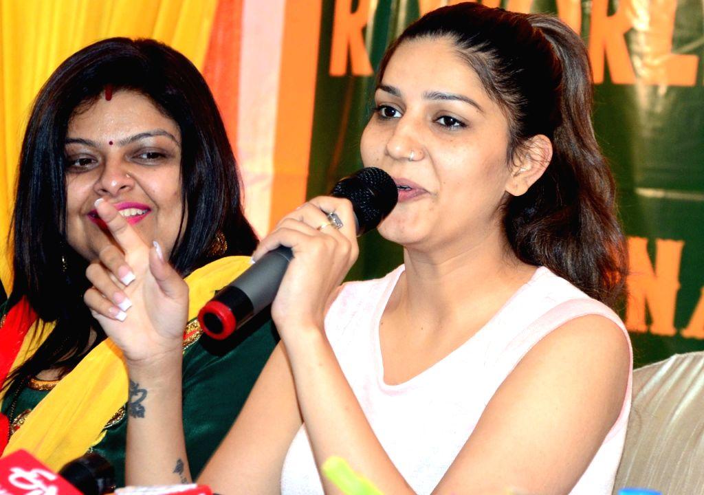 Haryanvi singer and dancer Sapna Choudhary during a press conference in Bhopal on Feb. 2, 2019. - Sapna Choudhary