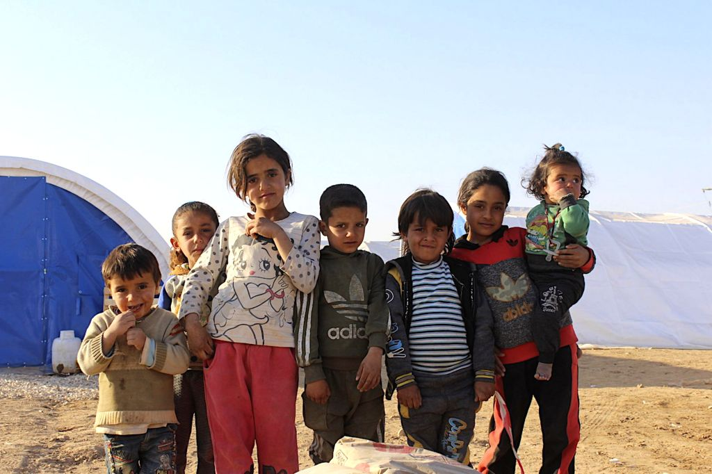 HASAKAH, Nov. 23, 2019 (Xinhua) -- Syrian children are seen in a refugee camp in the countryside of Hasakah City, Syria, Nov. 21, 2019. In the Twaineh area 10 km west of the northeastern city of Hasakah, the Kurdish militia set up a new refugee camp