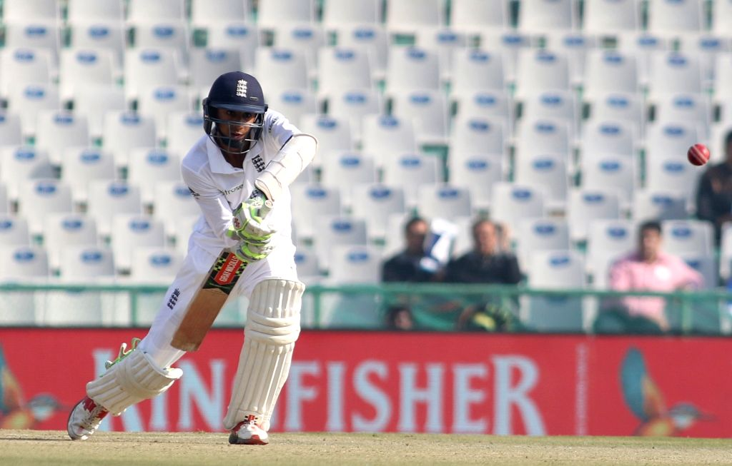 Haseeb Hameed of England bats during day 1 of the third test match between India and England held at the Punjab Cricket Association IS Bindra Stadium, Mohali on Nov. 26,  2016.