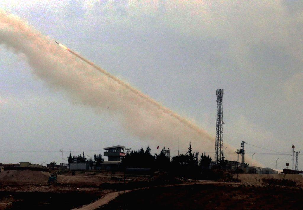 HATAY (TURKEY), Feb. 12, 2018 The Turkish army fires a rocket toward Syria from the town of Reyhanli, province of Hatay, Turkey, on Feb. 12, 2018. Thirty-one Turkish soldiers have been ...