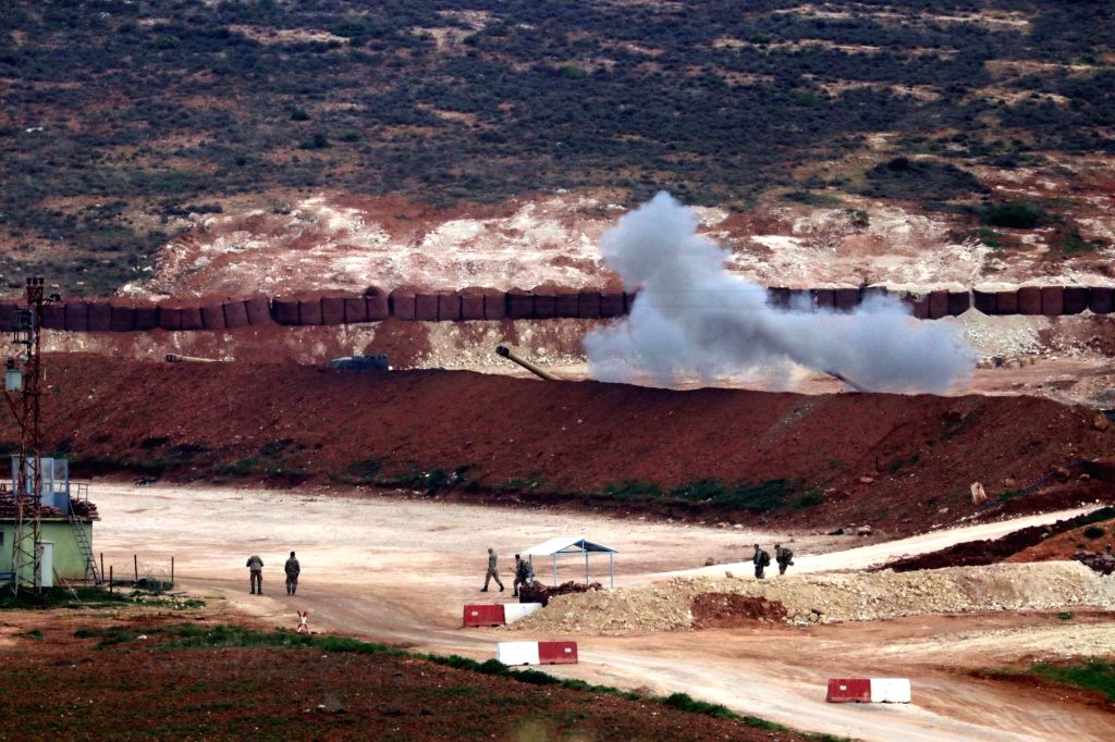 HATAY (TURKEY), Feb. 12, 2018 Turkish artillery shell toward Syria from the town of Reyhanli, province of Hatay, Turkey, on Feb. 12, 2018. Thirty-one Turkish soldiers have been killed and ...