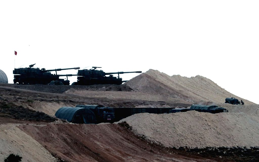 HATAY (TURKEY), Oct. 10, 2017 Photo taken on Oct. 10, 2017 shows Turkish army vehicles stationed near the Turkey-Syria border in Reyhanli district, Hatay province, Turkey. Turkish troops ...