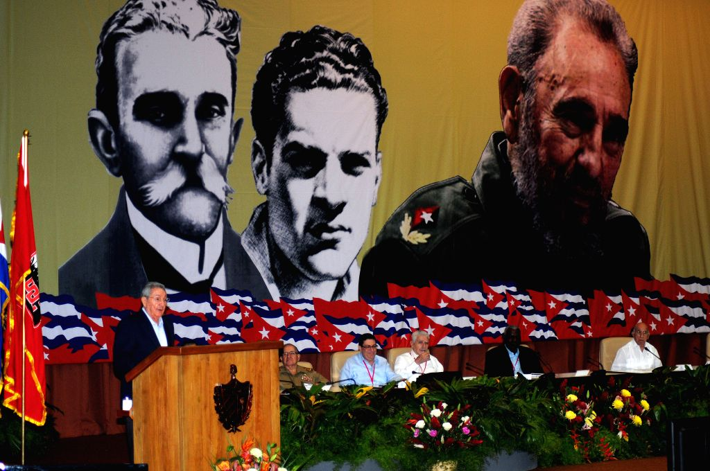 HAVANA, April 17, 2016 - Cuba's President Raul Castro (L) introduces the Central Report to the 7th Congress of the Communist Party of Cuba (PCC, for its acronym in Spanish), at the Convention Palace ...