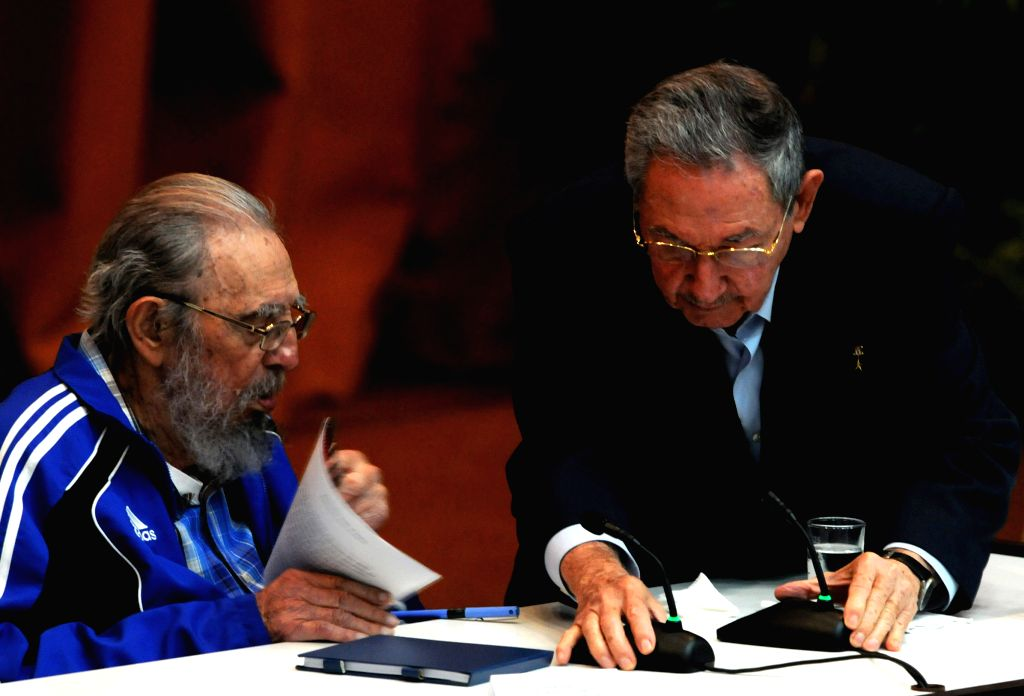 HAVANA, April 19, 2016 - Cuban revolutionary leader Fidel Castro (L) and Cuban President Raul Castro, take part during the seventh Congress of the Communist Party of Cuba (PCC), at the Palace of ...